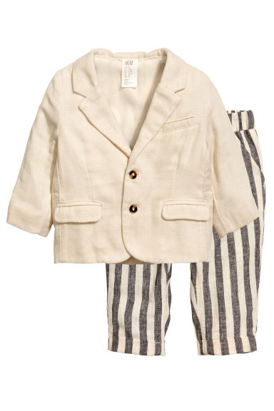 Jacket and trousers - Light beige/Striped - Kids | H&M CN 1
