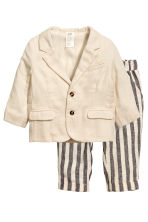 Jacket and trousers - Light beige/Striped - Kids | H&M 1