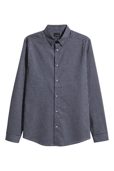 Premium cotton shirt - Dark blue/Checked - Men | H&M 1
