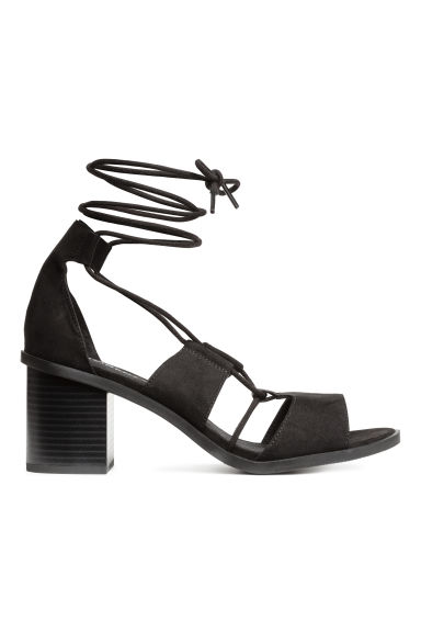 Sandals with lacing - Black - Ladies | H&M GB
