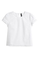Broderie anglaise top - White - Ladies | H&M 2