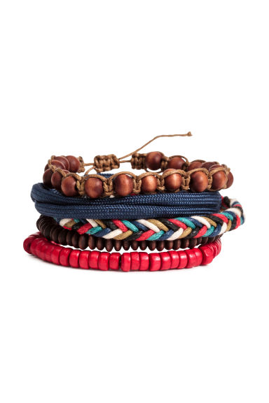 5-pack bracelets - Red/Dark blue - Men | H&M 1