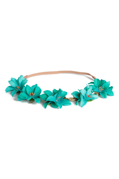 Hairband with flowers - Turquoise - Ladies | H&M 1