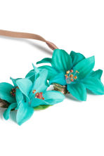 Hairband with flowers - Turquoise - Ladies | H&M 2