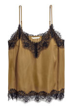 Satin strappy top with lace - Khaki - Ladies | H&M GB 2