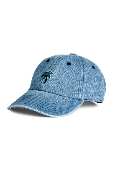 Denim cap with appliqué - Denim blue/Palm - Men | H&M 1
