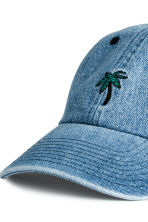 Denim cap with appliqué - Denim blue/Palm - Men | H&M 3
