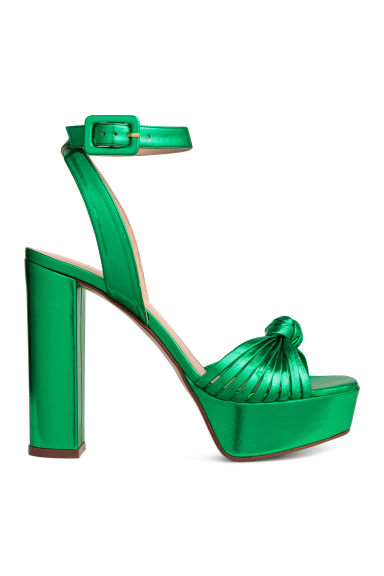 Leather platform sandals - Green/Metallic - Ladies | H&M 1