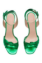 Leather platform sandals - Green/Metallic - Ladies | H&M GB 2