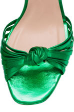 Leather platform sandals - Green/Metallic - Ladies | H&M 3