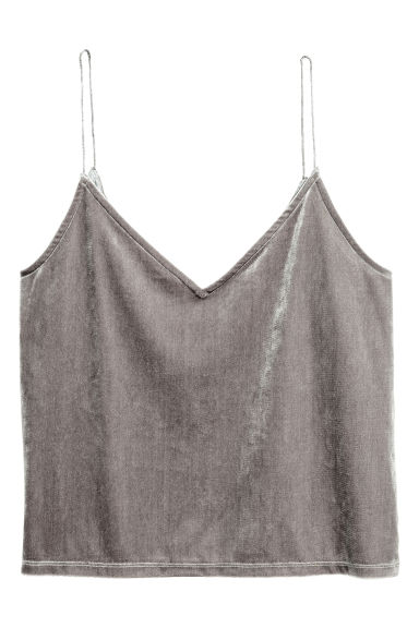 Crushed velvet strappy top - Mole - Ladies | H&M
