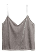 Crushed velvet strappy top - Mole - Ladies | H&M 1