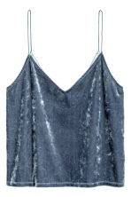 Crushed velvet strappy top - Blue - Ladies | H&M 1