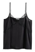 Jersey strappy top with lace - Black - Ladies | H&M 1