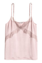 Jersey strappy top with lace - Light heather - Ladies | H&M 2