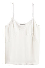 Jersey strappy top with lace - White -  | H&M CN 2