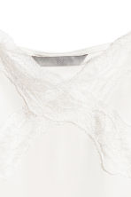 Jersey strappy top with lace - White -  | H&M 3