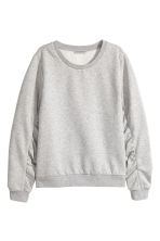 Gathered-sleeve sweatshirt - Grey marl - Ladies | H&M 2