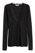 V-neck top - Black -  | H&M 2