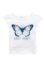 Printed jersey top - White/Butterfly -  | H&M CN 2