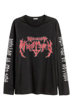 Long-sleeved printed T-shirt - Black - Men | H&M CA 1