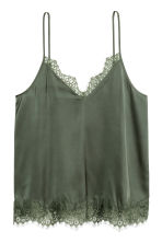 Satin strappy top - Khaki green - Ladies | H&M CN 2