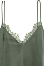 Satin strappy top - Khaki green - Ladies | H&M CN 3
