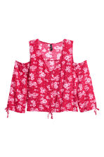 Cold shoulder blouse - Red/Floral - Ladies | H&M CN 2