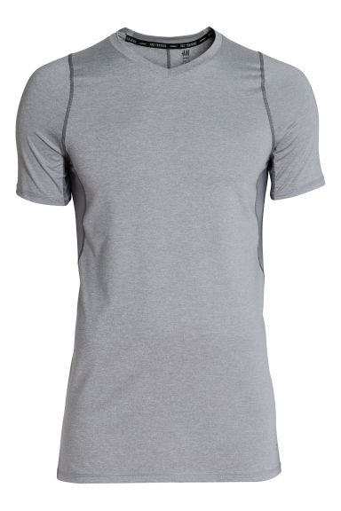 Short-sleeved sports top - Grey marl - Men | H&M