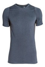 Short-sleeved sports top - Dark blue marl - Men | H&M 1