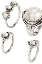 5-pack rings - Silver - Ladies | H&M CN 2