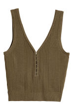 Pattern-knit top - Khaki green - Ladies | H&M 2