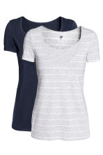 MAMA 2-pack nursing tops - Light grey/Striped - Ladies | H&M 2