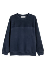 Textured sweatshirt - Dark blue - Men | H&M CN 2