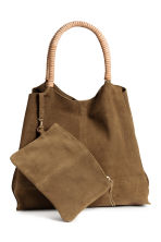 Suede shopper with clutch - Khaki brown - Ladies | H&M 1