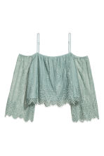 Lace off-the-shoulder blouse - Dusky green - Ladies | H&M 2