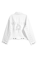 Denim jacket with lacing - White denim - Ladies | H&M CN 3