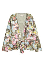 Quilted satin jacket - Light blue/Floral -  | H&M 2