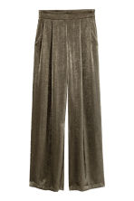 Wide satin trousers - Dark Khaki - Ladies | H&M CN 2