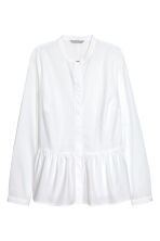Cotton blouse with a flounce - White - Ladies | H&M 1