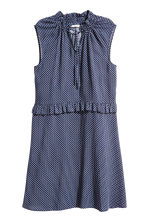Patterned dress with frills - Dark blue - Ladies | H&M 2