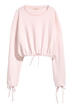Short drawstring sweatshirt - Light pink - Ladies | H&M CN 2