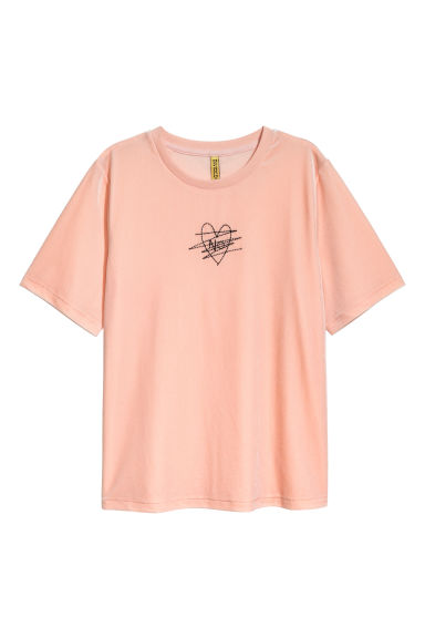 Velour T-shirt - Powder - Ladies | H&M CN 1
