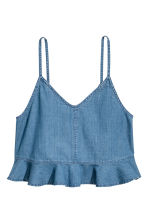 Flounced strappy denim top - Denim blue - Ladies | H&M CN 2