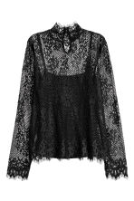 Long-sleeved lace top - Black - Ladies | H&M CN 2