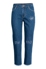 Straight Cropped High Jeans - Dark denim blue - Ladies | H&M CN 2