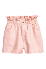 Short linen shorts - Powder pink - Ladies | H&M CN 2