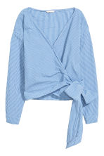 Wrapover blouse - Blue/White/Checked - Ladies | H&M CN 2