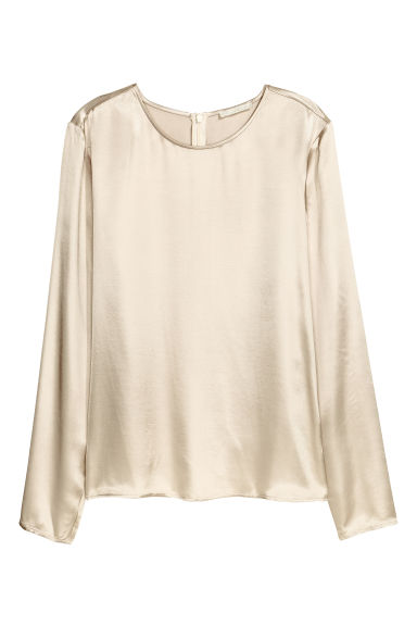 Long-sleeved blouse - Light beige -  | H&M CN 1