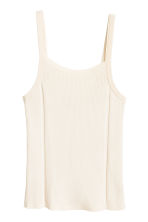 Fine-knit strappy top - Light beige -  | H&M 2